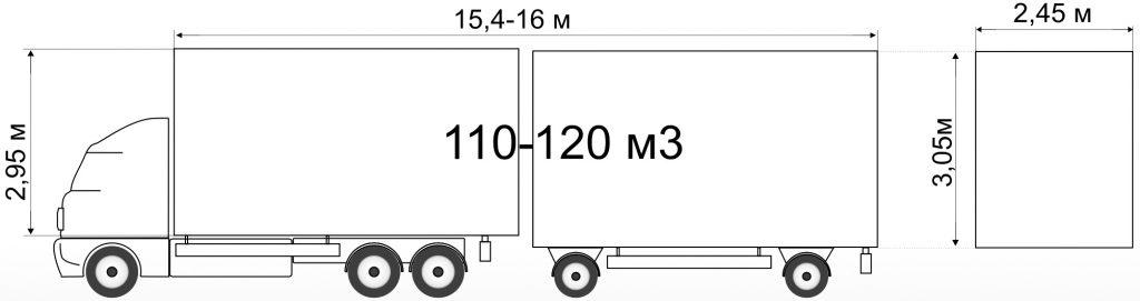Грузовик с прицепом вместимостью 110-120м³