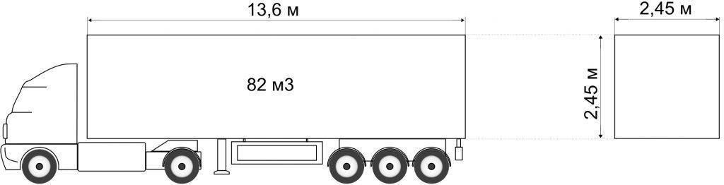 Седельный тягач с полуприцепом вместимостью 82м³