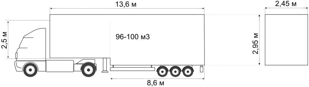 Седельный тягач с полуприцепом вместимостью 96м³